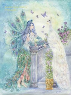 Fairy ArtPeacock Fairy with White Peacock and by cristinahansen