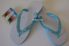 White And Turquoise Havaianas Thongs Featuring Turqoise | MyDiamonte - Clothing on ArtFire