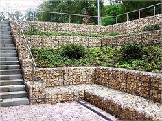 Garden Pool, Garden Bridge, Landscape Architecture, Landscape Design, Gabion Retaining Wall, Home Remodeling, Outdoor Structures, House Design, Gardens