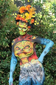 "Amazing day at Mount Edgecombe Park today. Heres Steve Clarke's great Image of my wonderful model Philly Rolleston who helped me win First Place at Body Factory 2016!!! ""Nuclear Winter"" Image Steve Clarke #body #paint #nuclear #fallout #mushroom #cloud #skull #body #art #brushstrokes #JennyMarquis #Image #photo #picoftheday #concept"