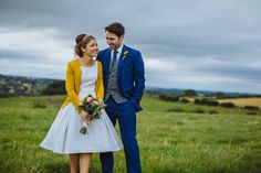 Blue & Mustard Rustic Wedding With Dress & 1000 Origami Cranes: Kirsty & Paul Short Wedding Gowns, 50s Wedding, Wedding Dress Styles, Farm Wedding, Wedding Bells, Rustic Wedding, Handmade Wedding, Wedding Ideas, Wedding Inspiration