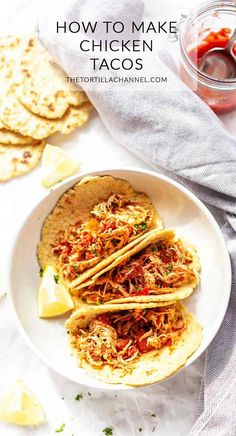 Shredded chicken tacos {three options} - The Tortilla Channel Looking for the best shredded chicken tacos? Take a look at this recipe. In the pressure cooker, slow cooker and oven. Prep done in less than 5 minutes! Crockpot Shredded Chicken Tacos, Mexican Shredded Chicken, Shredded Chicken Recipes, Make Almond Flour, Taco Ingredients, Recipe Tin, Seasoning Recipe, Taco Seasoning, The Best