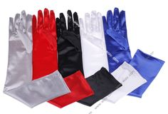 Ladies Satin Party Dress Evening Wedding Brisal Long Finger Gloves