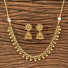 Gold choker/ Matte Gold Necklace/ Indian Necklace/ South Necklace/ One Gram Gold Necklace/ Indian Je Pearl Necklace Designs, Jewelry Design Earrings, Gold Earrings Designs, Necklace Set, Indian Gold Necklace Designs, Gold Choker Necklace, Pearl Jewelry, Wedding Jewelry, Jewelery