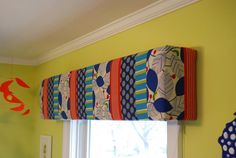 DIY Window Cornice Box built from foam insulation board - safe and easy window treatment option for renters and apartment dwellers. Via The Borrowed Abode Valances & Cornices, Cornice Box, Window Cornices, Cornice Boards, Valance Curtains, Window Toppers, Insulation Board, Box Building, Nursery Curtains