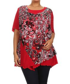Another great find on #zulily! Red Floral Layered Asymmetrical Top - Plus #zulilyfinds