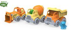 Green Toys Construction Trucks - 3 separate trucks - dumper, scooper and a mixer.