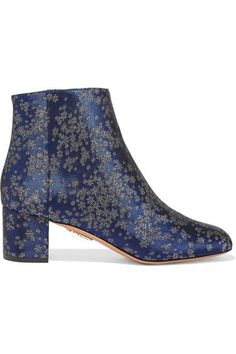 Aquazzura - Brooklyn Jacquard Ankle Boots - Navy - IT36.5