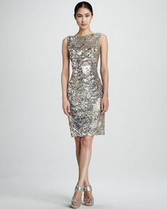 Cutout Sequined Cocktail Dress by David Meister at Neiman Marcus.