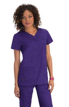 Koi Josie Top in Grape Cute Scrubs, Koi Scrubs, Medical Scrubs, Custom Clothes, V Neck, Poses, Casual, Caregiver, Jumper