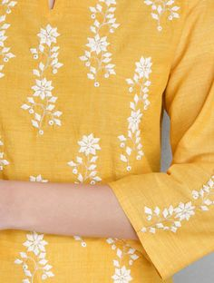 Buy Yellow Applique & Mukaish Embellished Cotton Kurta Apparel Tunics Kurtas Paatra Hand Done Patti Work Shirts More Online at Jaypore.com Embroidery On Kurtis, Hand Embroidery Dress, Embroidery Suits, Embroidered Clothes, Embroidery Fashion, Applique Dress, Beaded Embroidery, Embroidery Applique, Hand Embroidery Design Patterns
