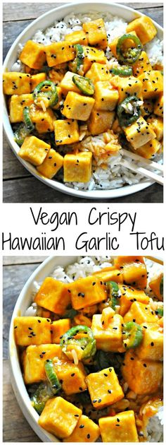 Vegan Crispy Hawaiian Garlic Tofu - Vegan Crispy Hawaiian Garlic Tofu Rabbit An. - Vegan Crispy Hawaiian Garlic Tofu – Vegan Crispy Hawaiian Garlic Tofu Rabbit And Wolves – A Va - Vegan Foods, Vegan Dishes, Vegan Meals, Gourmet Foods, Pasta Con Tofu, Whole Food Recipes, Cooking Recipes, Cooking Tips, Vegan Recipes