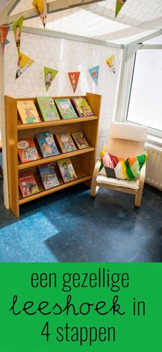 Een gezellige leeshoek in 4 stappen Kids Corner, Paper Clip, Storage Organization, Bookcase, Classroom, Letters, Math, Fun, Crafts