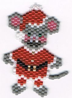 Pendientes de cuentas Santa ratón colgando de la por beadfairy1