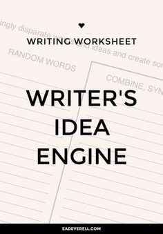 Creative Writing Worksheet – Idea Engine (PDF) Here is a worksheet that will have you generating story ideas a dozen at a time! Fill the engine up with words and watch it work its genius. But write quickly, without second-guessing yourself! More writing worksheets to try… Things I Love About Stories Things I Love About…