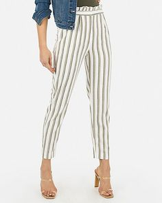 c0457e3d9c946c High Waisted Striped Ruffle Top Ankle Pant | Express Ankle Highs, Ankle  Pants, Ruffle