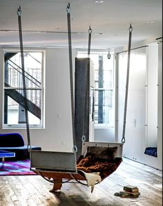 Manhattan loft | hanging chaise |  (Photo: Trevor Tondro)