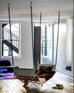 Manhattan loft | hanging chaise |  (Photo: Trevor Tondro)