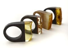 amber and wood rings