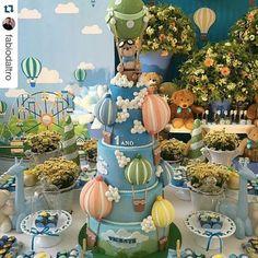 Que linda inspiração! #ursinho #ursinhobaloeiro #balaozinho #balaotransparente #festademenino