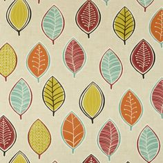 Oilcloth Tablecloth Red, Orange and Aqua Falling Leaves Wipe Clean Tablecloth