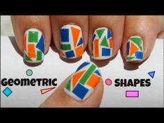 Geometric Shapes Nail Art using Cellophane