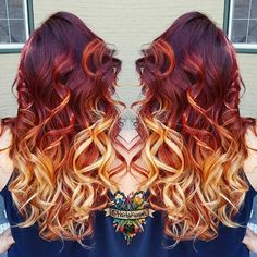 Wonderful sunset hair color style~ Red ombre to blonde, you should not miss