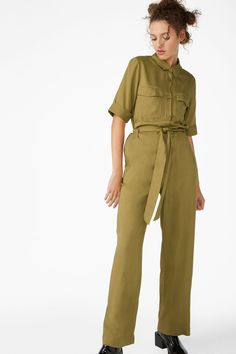 2679c2e3e87d Monki utilitarian jumpsuit in beige - A belted jumpsuit featuring a fab  utility look with a