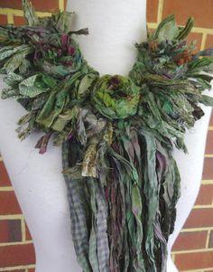 RESERVED FOR KERRI plumfish Recycled Sari Silk Rosette Statement Necklace wearable art fiber art