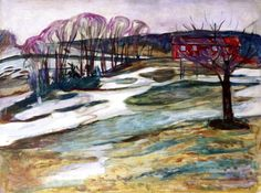 Landscape with Red House Edvard Munch - 1925-1926