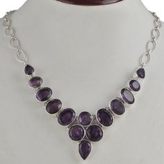 AMETHYST CUT 925 SOLID STERLING SILVER NEWSTYLE BEAUTIFUL NECKLACE 54.88g NK0062 #Handmade #NECKLACE