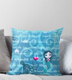 'Inspired by You - Teal Mermaid, of Throw Pillow by LittleMissTyne Mermaid Gifts, Ipad Case, Art Boards, Iphone Cases, Teal, Lovers, Throw Pillows, Gift Ideas, Inspired