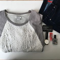 Lucky Lotus Sweatshirt Sweatshirt with scoop neck and 3/4 length sleeves. Beautiful knit detailing on front. Great for a casual day! trades Lucky Brand Tops Sweatshirts & Hoodies