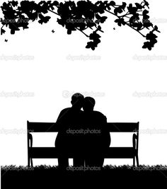 Lovely retired elderly couple sitting on bench in garden or yard ...