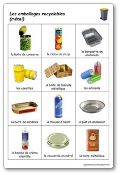The selective sorting game: recyclable metal packaging - Mary Martinez Free Preschool, Preschool Worksheets, Math Activities, French Language Lessons, French Lessons, Recycling Activities For Kids, Sorting Games, School Games, Eyfs
