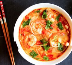 thai tom yum soup with shrimps
