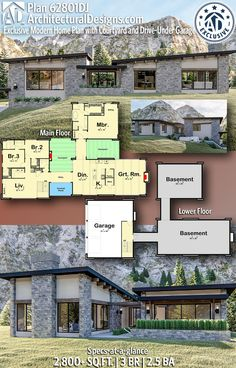 Architectural Designs Exclusive Modern Home Plan gives you 3 bedrooms, baths and sq. Ready when you are! Where do YOU want to build? Home Building Design, Home Design Floor Plans, House Floor Plans, Building A House, House Design, Solar House, Ranch Style Homes, Modern House Plans, My Dream Home