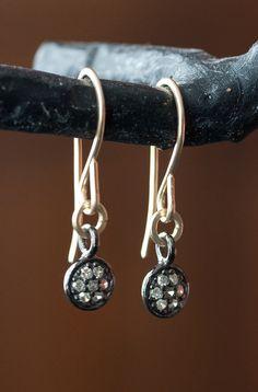 Pavé Diamond Disc Earrings by LexLuxe on Etsy, $158.00