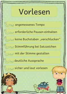 German in elementary school: read aloud correctly - Education Reading Projects, Reading Activities, I School, Primary School, German Language Learning, Design Blog, Teaching Materials, Elementary Education, Primary Education