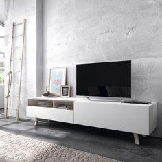 Time mueble TV blanco/haya