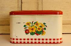 Antique Metal Bread Box Vintage 1940's Kitchen Kitchen Storage Antique Housewares Old Bread Tin Nasturtium Red and White Checks () by VandyleeVintage