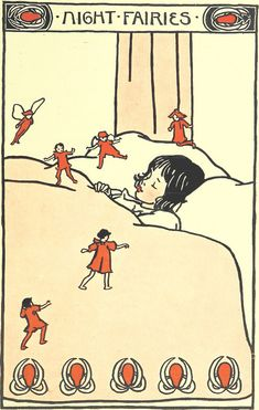 """Night fairies, from """"Songs of Near and Far Away,"""" illustrated and written by E. Richardson, 1900."""