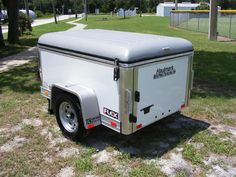 This enclosed cargo trailer is x made by Haulmark, is a 2013 Flex Series model. Stuctured with an aluminum frame, this white cargo trailer has an rubber ride suspension axle. Small Cargo Trailers, Utility Trailer, Camper Trailers, Small Enclosed Trailer, Enclosed Trailers For Sale, Small Trailer, Camping Trailer Diy, Minivan Camping, Accessories