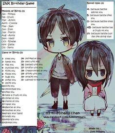 Shingeki no Kyojin (SNK) Birthday Scenario Game by MakoTM on DeviantArt Birthday Scenario Game, Birthday Games, Levi X Eren, Armin, Anime Oc, Anime Manga, Funny Charts, Creepy Smile, Anime Zodiac