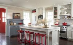 Decorating Ideas. 4th of July American Patriotic Interior Decorations. Cottage and Modern Americana Kitchen with Island Design in White Red and Blue Color Theme with White Storage Cabinets and Modern Stainless Steel Appliances, Light Wood Beadboard Wall and White Tiles Backsplash and also Solid Wood Flooring