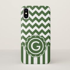 Dark Green Chevron Monogram iPhone X Case - monogram gifts unique design style monogrammed diy cyo customize