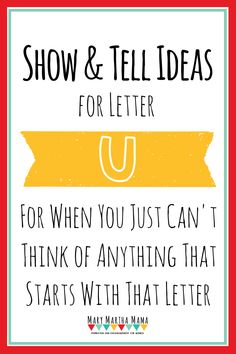 list of show and tell ideas for letter of the week preschool