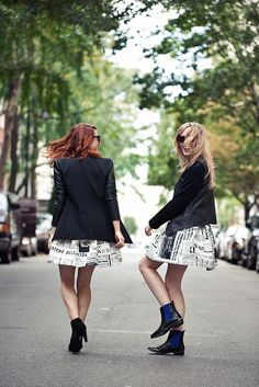 matching outfits and twirling on the street with a friend is my kind of perfect day