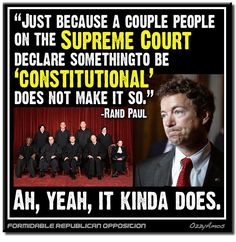 """Amazing how many people in our government think The Constitution is something that can be discarded at will. """"Yeah, think Marbury vs. Madison resolved that long ago, but then I went to law school, what do I know. Dumb Quotes, Idiot Quotes, Out Of Touch, Stupid People, Republican Party, Social Issues, Constitution, Dumb And Dumber, Philosophy"""