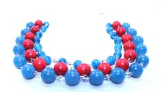 Blue red necklace miltistrand necklace by NotYourMomsJewellery Red Necklace, Multi Strand Necklace, Beaded Necklace, Necklaces, Mom Jewelry, My Etsy Shop, Quartz, Turquoise, Jewellery